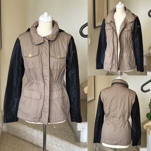 Vince Camuto Faux Leather Arms Utility Jacket